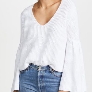 Free People White Damsel Bell Sleeve Sweater
